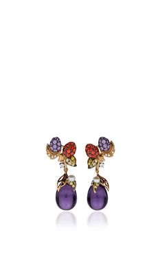 Blackberry Drop Earrings by ANABELA CHAN - Amethyst briolette drops, pavé-set sapphires, garnets, diamonds, and natural freshwater pearls (=)