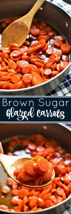 These Brown Sugar-Glazed Carrots take carrots to a whole new level Made with just 4 delicious ingredients they come together quickly and make the perfect holiday side dish holidayhosting anolon Veggie Side Dishes, Vegetable Dishes, Food Dishes, Side Dishes With Ham, Side Dishes For Meatloaf, Sides For Meatloaf, Carrot Dishes, Quick Side Dishes, Dinner Side Dishes