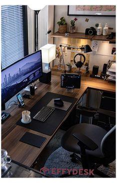Home Studio Setup, Home Office Setup, Home Office Space, Home Office Design, House Design, Home Photo Studio, Loft Interior Design, Home Studio Music, Computer Desk Setup
