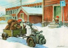 Bilderesultat for julekort Christmas Pictures, Christmas Cards, Baumgarten, Fairy Village, Nordic Art, Leprechaun, Goblin, Vintage Cards, Faeries