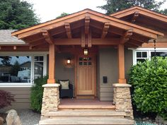 white+cultured+stone+on+porch | White Rock Renovation- Tamlin West Coast and Timber Frame Homes