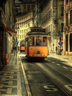 The famous trolley 28 in Lisbon, Portugal:)  I was smooshed up in the front against the windshield...best seat on the trolley!