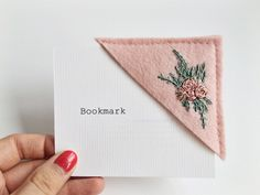 """sosuperawesome: """" Embroidered felt bookmarks by CeeStitchery on Etsy Flower Embroidery Designs, Hand Embroidery Patterns, Diy Embroidery, Cross Stitch Embroidery, Diy Marque Page, Sewing Crafts, Sewing Projects, Diy Broderie, Felt Bookmark"""