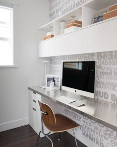 Portico Design Group - dens/libraries/offices - home office, modern home office, mid-century modern style desk chair, white desk, white buil. Home Office Design, Home Office Decor, House Design, Home Decor, Office Designs, Library Design, Office Art, Office Ideas, Floating Cabinets