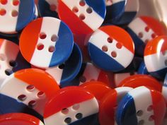 10 America Buttons 12mm Acryclic Red White and Blue USA by WNBrunk