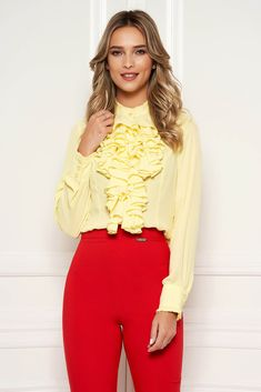 StarShinerS yellow office women`s blouse with ruffles on the chest transparent chiffon fabric high collar, high collar, long sleeves, transparent chiffon fabric, with ruffles on the chest Yellow Office, Blouse Outfit, Chiffon Fabric, High Collar, Suits You, Summer Looks, Size Clothing, Shirt Blouses, Ruffles