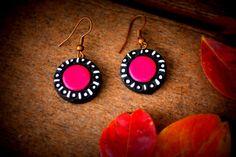 pink and white trendy terracotta earrings, fashion earrings, bright statement earrings, ethnic earrings, unique style earrings, great gifts