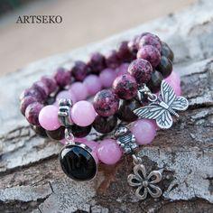 three bracelets ,a141,bracelet,eco,beaded brancelet,for gift, boho bracelets, agate, butterfly, for her, pendant by Artseko on Etsy