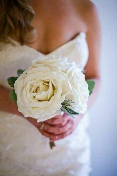 DIY wedding bouquet - oversized silk roses, silk dusty miller foliage, silver glitter fern. McKay photography Sydney