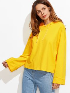 Shop Yellow Drop Shoulder Kimono Sleeve Hoodie online. SheIn offers Yellow Drop Shoulder Kimono Sleeve Hoodie & more to fit your fashionable needs.