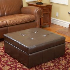 Christopher Knight Home Chatsworth Brown Leather Storage Ottoman - Overstock™ Shopping - Great Deals on Christopher Knight Home Ottomans