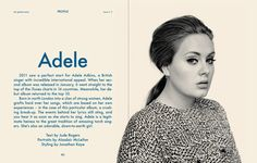 Magazine Layouts: Adele - This is exactly the type of double page spread I am aiming for, simplistic.