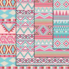 12 Lovely Aztec Pattern Digital Paper Ikat geometric