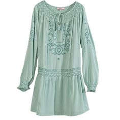 CALYPSO St. Barth Dadra Embroidered Silk Dress ($399) ❤ liked on Polyvore featuring dresses, wshdjade, ruffle hem dress, long floral dresses, green floral dress, long sleeve dress and ruffle sleeve dress