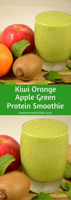This sweet and rich kiwi orange apple green protein smoothie is a powerhouse of nutrients. Find the recipe on BetterMeforLife.com | green protein smoothie recipes | green protein smoothies | healthy green protein smoothies | green protein smoothies for weight loss | green protein smoothie | green protein smoothie recipes weight loss | green protein smoothie recipes diet #greenproteinsmoothies #greenproteinsmoothierecipes #proteinpowder #greenproteinsmoothie #green_protein_smoothie