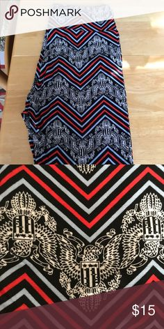 Lularoe Americana leggings OS Black background pale blue red and black pattern. Have to say never been worn. Was a mis ship I ended up eating. LuLaRoe Pants Leggings