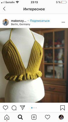 Crochet Bra, Crochet Bikini Pattern, Crochet Halter Tops, Crochet Crop Top, Crochet Woman, Love Crochet, Crochet Crafts, Crochet Clothes, Crotchet