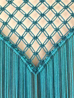 Extra Large Macrame Wall Hanging Teal & White Ombre Rope w/