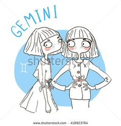 Zodiac signs Gemini. Vector illustration of the girl.
