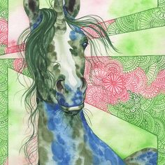 Gemmy, unicorn art by Nadine Thome. Art Prints are available on RedBubble. Unicorns, fantasy, watercolors, boho, bohemian, gyopsy art, horses, equines, appaloosa, illustrations