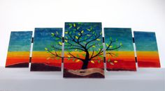 TREE OF LIFE wall art fused glass rainbow panel 5 by DecoLoisir, €320.00