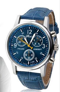 Exclusive Deep Blue Leather Men's Luxury Watch – Freedomster  Luxury Watch collection. These watches are very affordable and looks luxurious. Best option ad gifts for men. Different colors and styles available. Enrich your watch collection with this luxury leather watch.