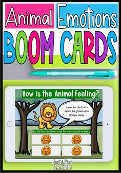 Teach students about identifying feelings and emotions with these social emotional learning digital task cards. Four different emotions (angry, sad, happy, scared) are taught using animals. Students can choose to explore the emotions and learn about them and then practice their emotional skills by identifying how the animal looks (which emotion is being expressed) and scenarios that cause different emotions. #boomcards #sel