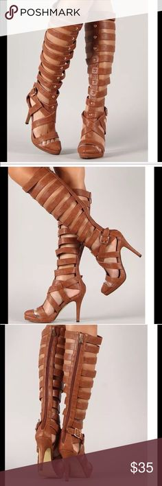 "Tan Gladiator Pointy Toe Heels 6 NWOB Tan Gladiator Pointy Toe Heels   New without box   Pointy toe with clear lucite trim  Strappy caged design on shaft  Man Made Materials, Synthetic Sole Size: 6 Heel Height: 4"" Shaft Length (including heel) 19"" Top Circumference: 14"" Shoes Heeled Boots"