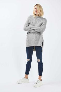 Oversized Longling Funnel Jumper - Knitwear - Clothing - Topshop