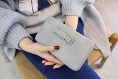 Purse bow women's wallet female famous brand card holders cellphone pocket PU leather women money bag clutch women wallet 505 Card Wallet, Clutch Wallet, Pouch, Bags Travel, Wallets For Women Leather, Womens Purses, Leather Clutch, Pu Leather, Leather Cover