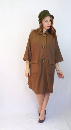 Vintage Retro 50s 60s Brown  Mod Wide Cape Maxi Coat Outerwear Winter Jacket Hollywood Glamour Mad Men Medium Large Peacoat Glam Plus Size