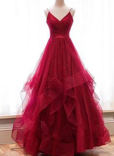 Burgunder V-Ausschnitt Tüll langes Abendkleid, Burgunder Abendkleid - Mode Kleider Cheap Red Prom Dresses, V Neck Prom Dresses, Prom Party Dresses, Party Gowns, Ball Dresses, Elegant Dresses, Homecoming Dresses, Pretty Dresses, Ball Gowns