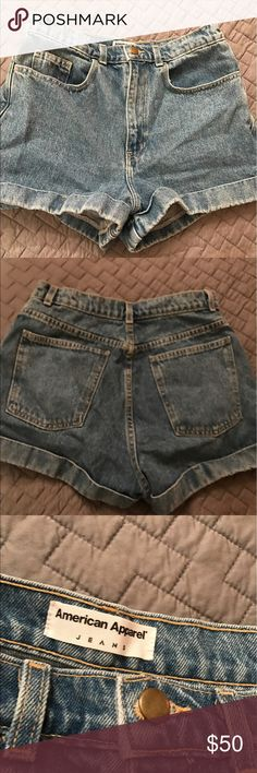HIGH WAISTED AMERICAN APPAREL JEAN SHORTS Size 30 but fits smaller in the waist area. Hardly ever worn, very cute color! American Apparel Shorts Jean Shorts