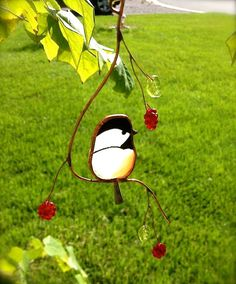 Hey, I found this really awesome Etsy listing at https://www.etsy.com/listing/193675921/chickadee-stained-glass-suncatcher