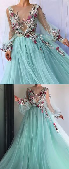 b73fe788e1d Blue tulle floral embroidered puff sleeve prom dress