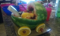 Made for babyshower loved the idea of a watermelon carriage