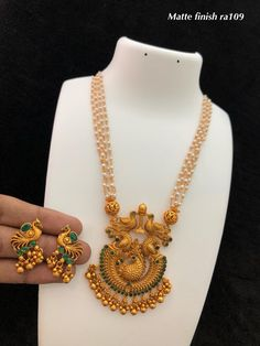 Temple Jewellery by Ankh Jewels for booking msg on Jewelry Design Earrings, Gold Earrings Designs, Gold Jewellery Design, Pearl Jewelry, Gold Chain Design, Gold Jewelry Simple, Temple Jewellery, Chains, Gold Necklace