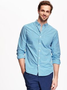 Regular-Fit Classic Plaid Shirt for Men Product Image