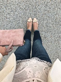 Ferragamo Vara bow pumps, blush tote, spring outfit, scallop lace top, cream blazer, petite skinny ankle jeans, petite fashion blog - click the photo for outfit details!