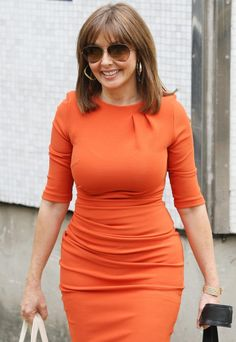Carol Vorderman outside the ITV studios wearing an orange dress and sunglasses - Pictures) Carol Vorderman, Orange Dress, Dress Codes, Pretty Woman, Sexy Women, Bodycon Dress, Lady, Model, How To Wear