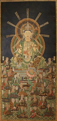 Muromachi Period. Hossō Mandala. 1500s. This painting is a manifestation of the transmission of Hossō-school teachings from India and China to Japan. One of the eight earliest Buddhist schools, Hossō (Faxiang in Chinese; Dharmalakshana in Sanskrit) was founded by the great monk Genjō (Xuanzang in Chinese; 596–664) and his eminent disciple Kiki, also known as Jion Daishi (Guiji in Chinese; 632–682). As the legendary founder of the Hossō sect, Miroku Bosatsu (Maitreya Bodhisattva) is enshrined…