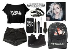 """""""MCR"""" by spnlex ❤ liked on Polyvore featuring Levi's, Converse, Smashbox and New Look"""