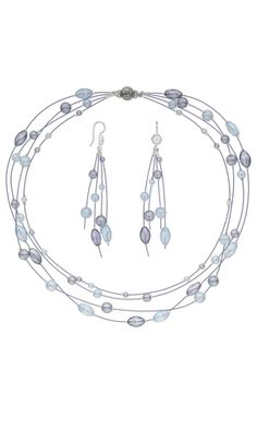 Multi-Strand Necklace and Earring Set with Czech Glass Beads and Accu-Flex® Beading Wire