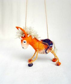 Gorgeous felt donkey marionette