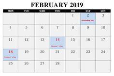 Blank Calendar February 2019 Printable February 2019 Calendar