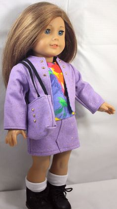 American Girl Doll Clothes-Lilac Jacket, Skirt, Shirt and totebag