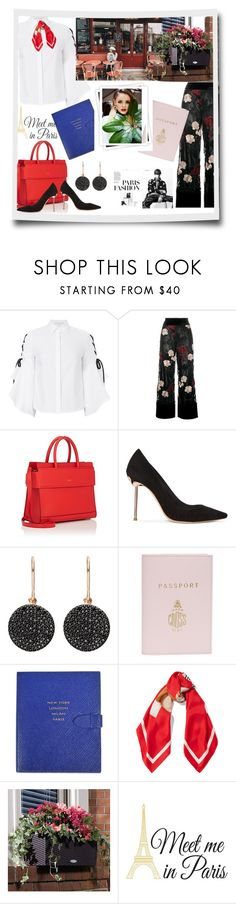 """Meet Me In Paris"" by sherryphoenix ❤ liked on Polyvore featuring Jonathan Simkhai, Ganni, Givenchy, Sophia Webster, Astley Clarke, Mark Cross, Smythson, Moschino, Improvements and Wall Pops!"