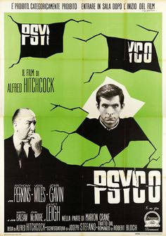 """""""Psyco"""" by alfred Hitchcock Alfred Hitchcock, Hitchcock Film, 1980's Movies, Great Movies, Movies Online, Movie Tv, Horror Movie Posters, Movie Poster Art, Horror Films"""