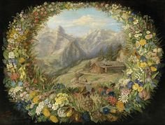 Anna Stainer-Knittel (1841-1915) —  View of an Alpine Landscape Surrounded by a Wreath of Flowers,1880 (2500x1911)