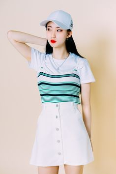 #mixxmix High Rise Button-Front A-Line Skirt (BZPA) This a-line skirt brings out a new and fun twist to your everyday outfit. #mxm #hideandseek #has #365basic #bauhaus #99bunny #heartclub #younggirlsfashion #koreanfashiontrend #streetfashion #dailyoutfit #koreanfashionstore #twinlook #twinslook #sisterlook